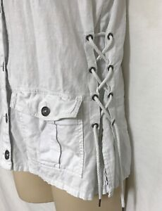 Women-Maurices-White-Denim-Vest-Top-Tie-Sides-Linen-Size-M-May-Fit-L-See-Msmnt