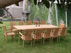 13 PC STACKING DINING TEAK SET GARDEN OUTDOOR PATIO FURNITURE  POOL CAHYO C05