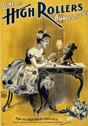 B27 Vintage alto rodillos burlesco espectáculo teatral cartel A1 A2 A3