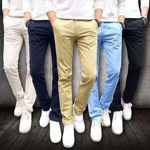Hommes-Jambe-Droite-Pantalon-Decontracte-Affaires-Slim-Fit-Bas-Skinny-Crayon