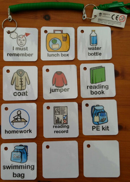I MUST REMEMBER TO BRING HOME FROM SCHOOL KEYRING autism/sen/NT/GD & more