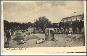 Moeltenort-Schleswig-Holstein-Postkarte-1938-gelaufen-Strandpartie-Hotel-Seeblick