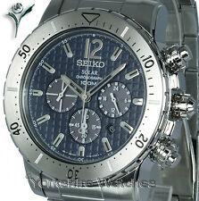Seiko Solar Deportes Blue Dial Chrono Con Brazalete De Acero Inoxidable ssc221p1