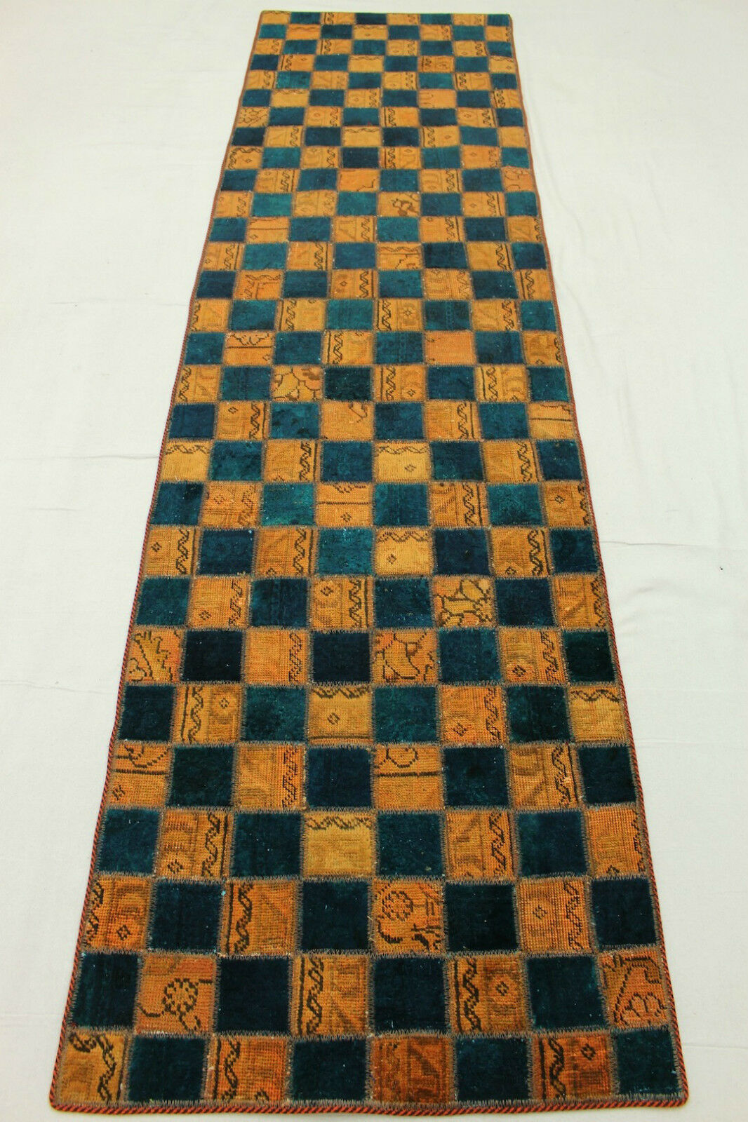 Vintage patchwork alfil Orient alfombra curry azul 310x80 moderno look usado 2686