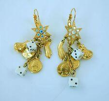 Kirks Folly Casino Good Luck Gambling Dangling Earrings  Dice coins star money