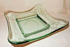 "10 1/4"" Mid-Century Modern Square Spanish Moss GREEN Art Glass BOWL Dish"