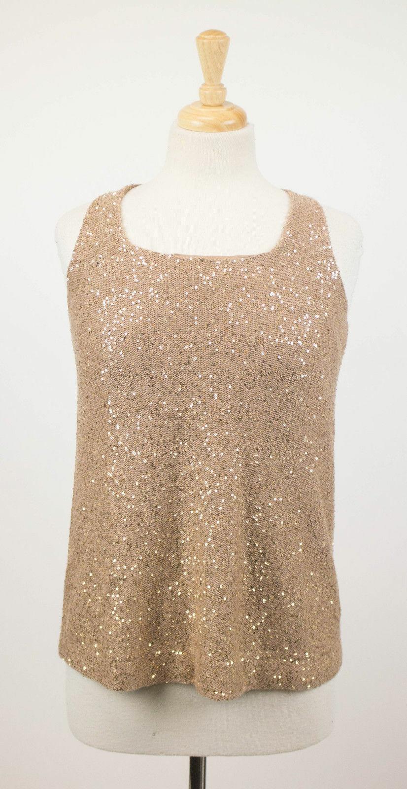 NWT BRUNELLO CUCINELLI braun Cashmere Blend W  Sequins Blouse Shirt Größe S