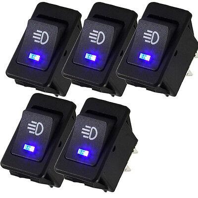 5pcs 12V Car Fog Light Rocker Toggle Switch Blue LED High Beam Headlight Switch