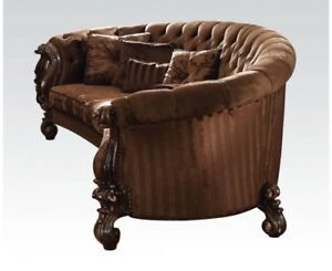 Versailles Button Tufted Brown Velvet Curved Sofa In Cherry Oak, Red ...