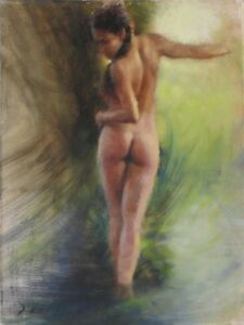 FEMALE NUDE Figure 9x12 Plein Air Impressionist Landscape Oil PAINTING Framed