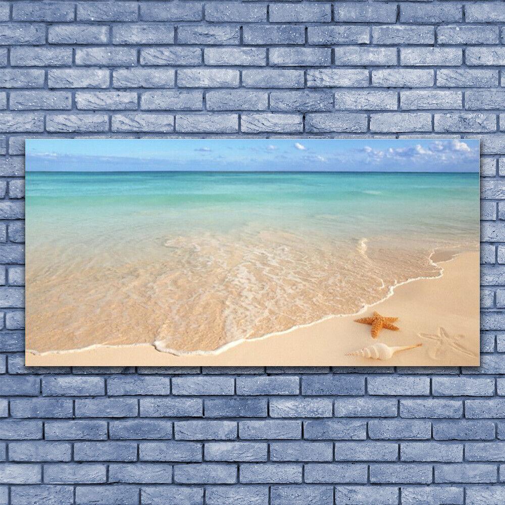 Glass print Wall art 140x70 Image Picture Sea Beach Starfish Landscape