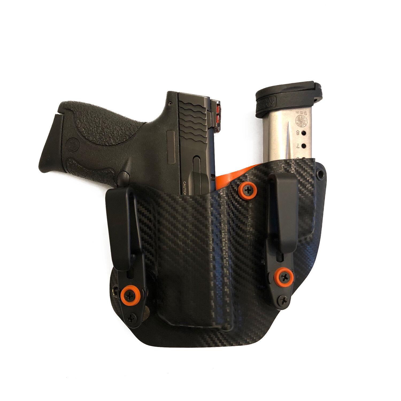 Funda Kydek se ajusta Glock 23 Pistola Mag Combo dentro de la cintura encubrimiento naranja, fibra de carbono