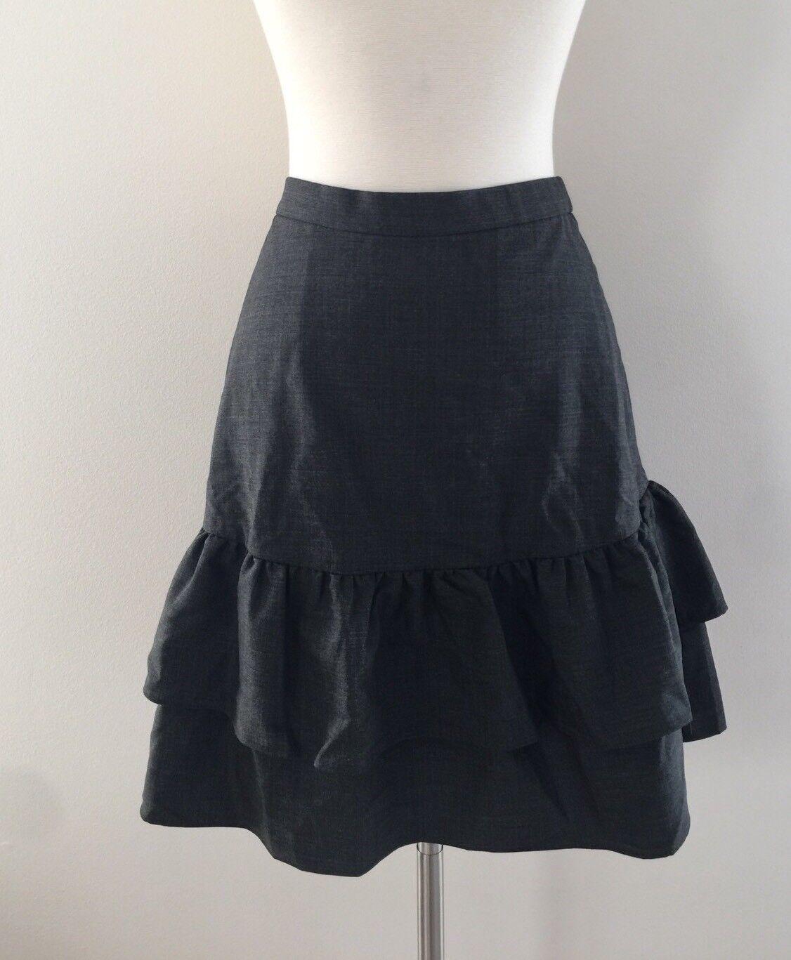 New Jcrew Tall wool flannel ruffle Office skirt Heather Charcoal Grey G8871  8T
