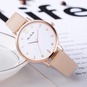Luxus-Frauen-Armbanduhr-Leder-Analog-Quarz-Edelstahl-Armband-Uhren-Geschenk