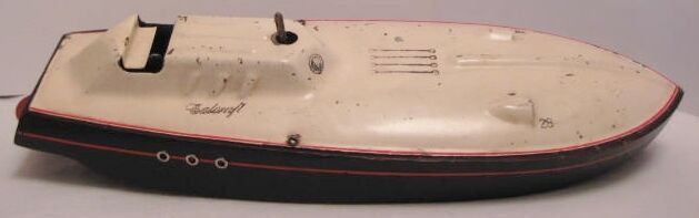 Awesome Antique Tin & Wood W Up Toy Speed Record Boat 14  Calcraft Racer Rare