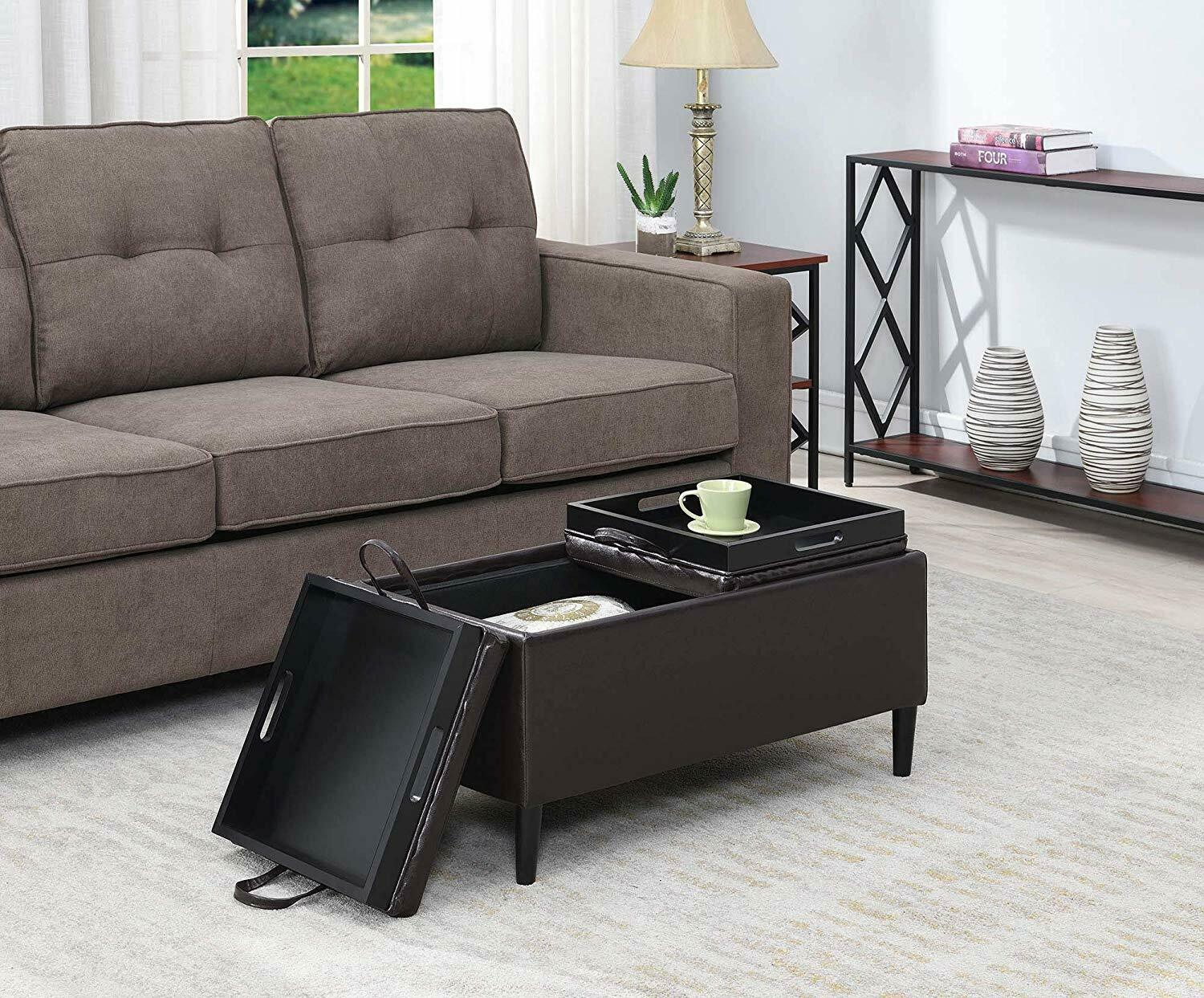 Armen Living Corbett Leather And Linen Coffee Table Storage Ottoman For Sale Online Ebay