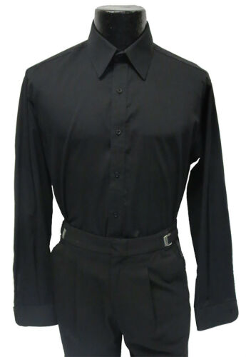 Mens Black Tuxedo Dress Shirt Laydown Collar Prom Size Large 16-16.5 36//37