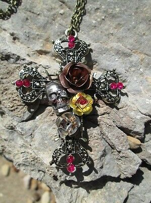 "Gothic Skull Rose Crystal Cross Pendant Gold 28"" Long Chain Necklace Silver Gold"