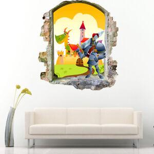Details About J396 Knight Castle Dragon Nursery Wall Stickers Bedroom S Boys Living Kids