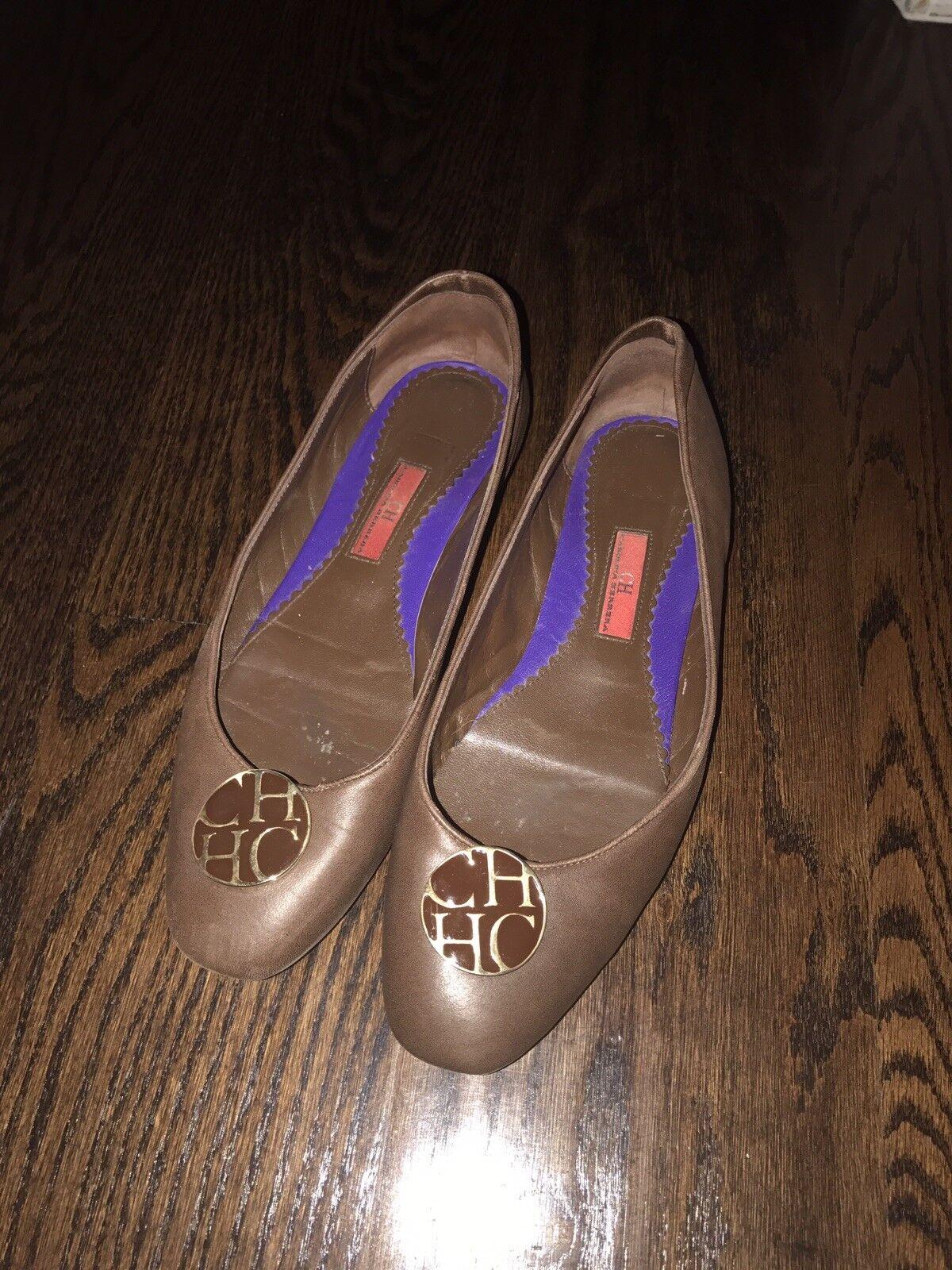 Carolina Herrera Brown Ballet Flats Shoes 9 CH Logo Size 9 Shoes 76cc58