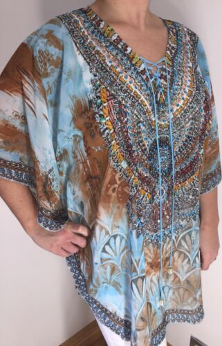Neck Tie Jewelled Stunning Crystals Pearls New Floral Blue Kaftan Cool Floaty 6gwqYw