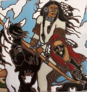 Vtg-Earthtones-Native-American-Warrior-Ceramic-Tile-Trivet-Wall-Hanging-1990