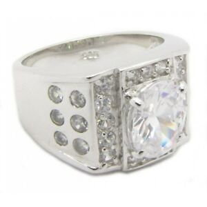 925-Silber-Herren-Ring-034-King-of-Bling-034-Zirkonia-Diamant-Bling-PLAYAZ-massiv-NEU
