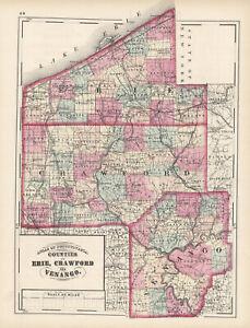 1872-Map-of-Erie-Crawford-amp-Venago-Counties-Pennsylvania-Original