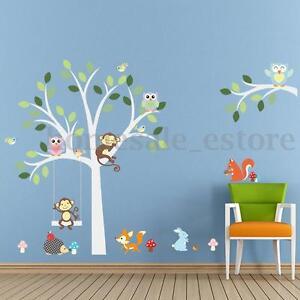 Nursery-Baby-Jungle-Animal-Owls-Monkey-Tree-Wall-Stickers-Decor-for-Kids-Room