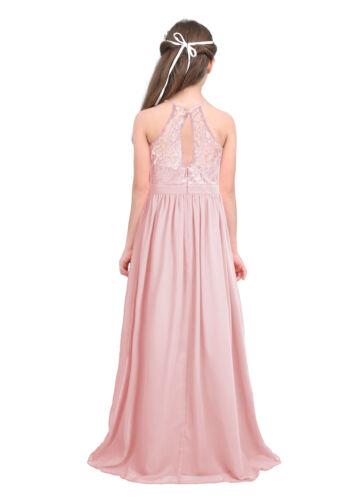 Girls Halter Lace Chiffon Flower Girl Dress Wedding Bridesmaid Junior Ball Gown
