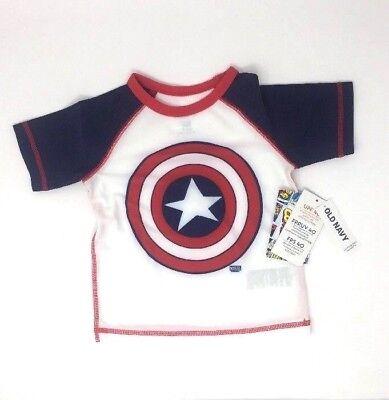 Old Navy Captain America Marvel Rash Guard Shirt Swim Boys 18-24M