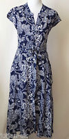 New Ladies Monsoon Floral Printed  Dress  - UK Size 8 - 20 Navy White