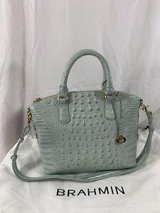 Genuine-BRAHMIN-Duxbury-Melbourne-sea-glass-blue-medium-satchel-bag-with-strap