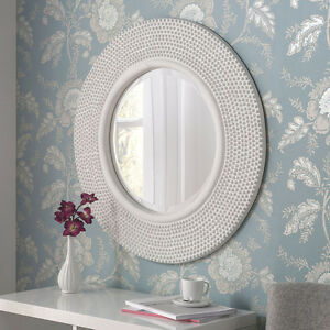 Rome large round new wall mirror modern white frame art for Large white round mirror