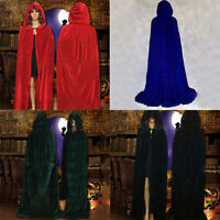 Retro Witch Velvet Cloak Adult Hooded Cape Halloween Wedding Costume Robe Decor