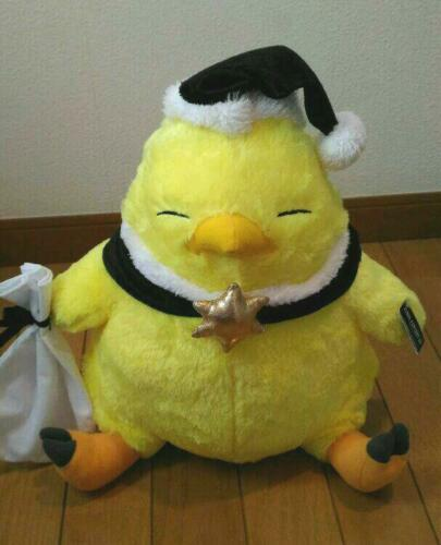 SQUARE ENIX FINAL FANTASY Chubby Chocobo stuffed black Santa plush Japan