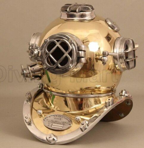 Vintage Brass /& Aluminium Royal US Navy Mark V Divers Helmet Marine Deep Sea