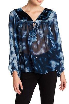 Kori America Women/'s Guaze Popover Tunic Tie Dye Top Blouse Lightweight