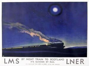 TX366 Vintage Night Train To Scotland LNER LMS Travel Railway Poster A2/A3/A4