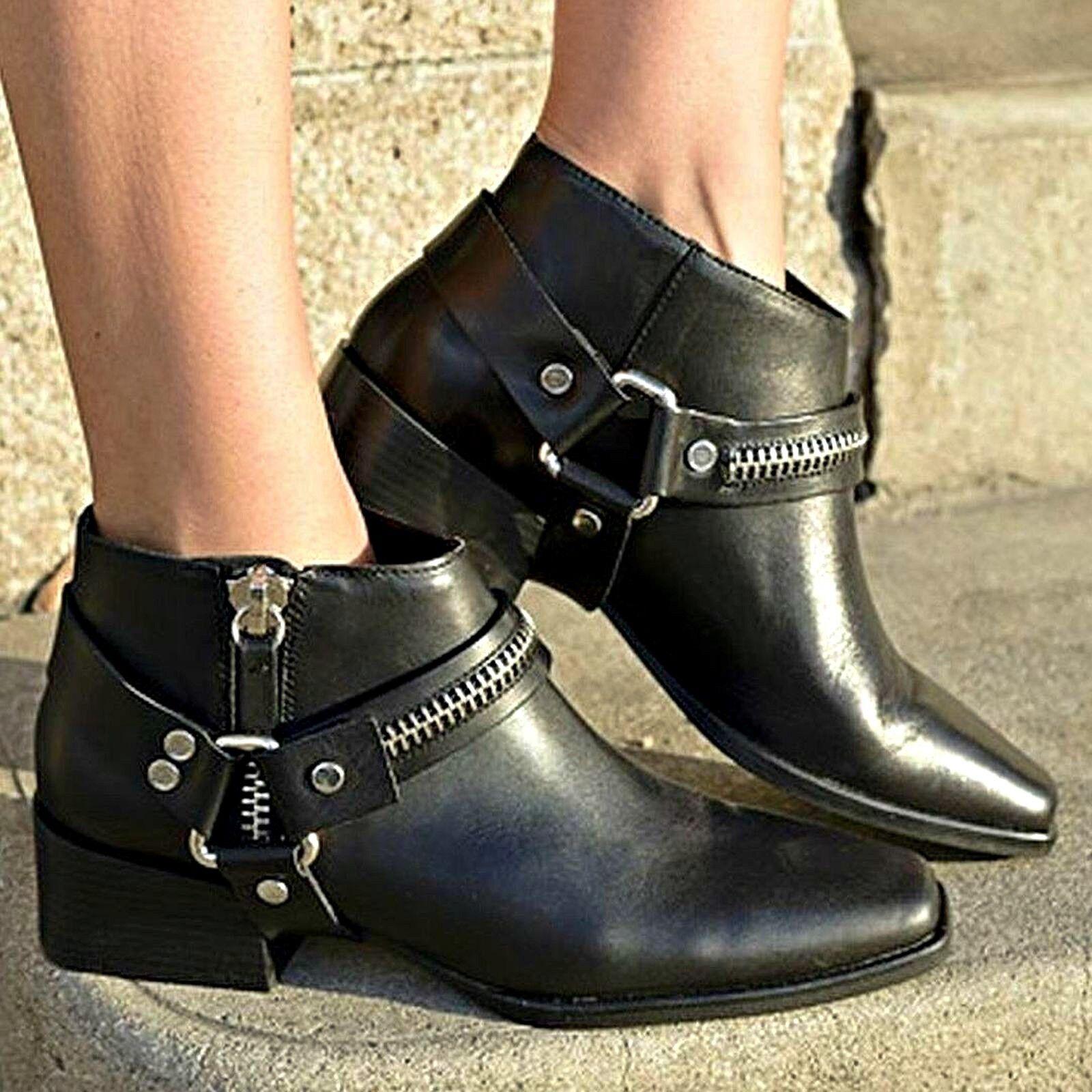 ZARA Black Calfskin Boots Zip & Buckle Woman BNWT Authentic 5102 301