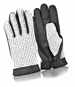 Real Leather Classic Driving Gloves Crochet Chauffeur Style Glove Retro