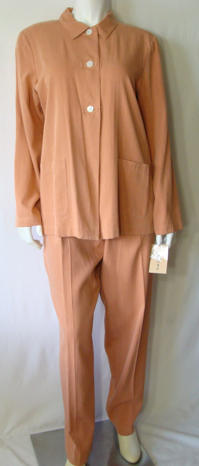 CHOICES Career Coral Top & Pant Set Silk & Cotton Size L NWT Retail  80.00