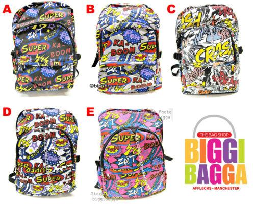 SUPER BOOM Comic RUCKSACK BACKPACK Chain Ladies WHITE BLACK GREY School Emo Bag