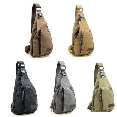Canvas Retro Handbag Messenger Shoulder Sling Military CrossBody Chest Bag MENS