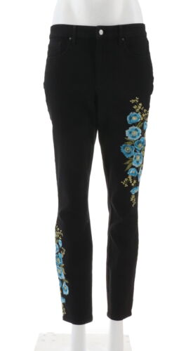Martha Stewart Embroidered 5-Pocket Ankle Jeans Blk Blue Poppy 16 NEW A309514