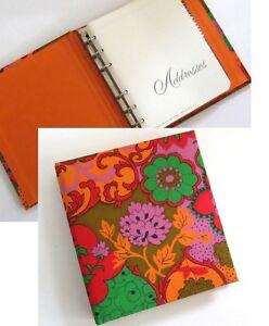 Vintage-Mod-Address-Book-Cloth-Binder-6-x-6-5-Unused-Hippie-Flower-Power