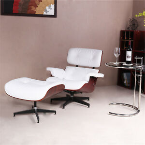 Image Is Loading Eames Lounge Chair And Ottoman Tall White Leather