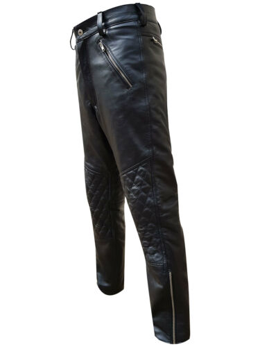 MENS BLACK SHEEP LEATHER QUILTED DESIGN MOTORCYCLE BIKERS JEANS