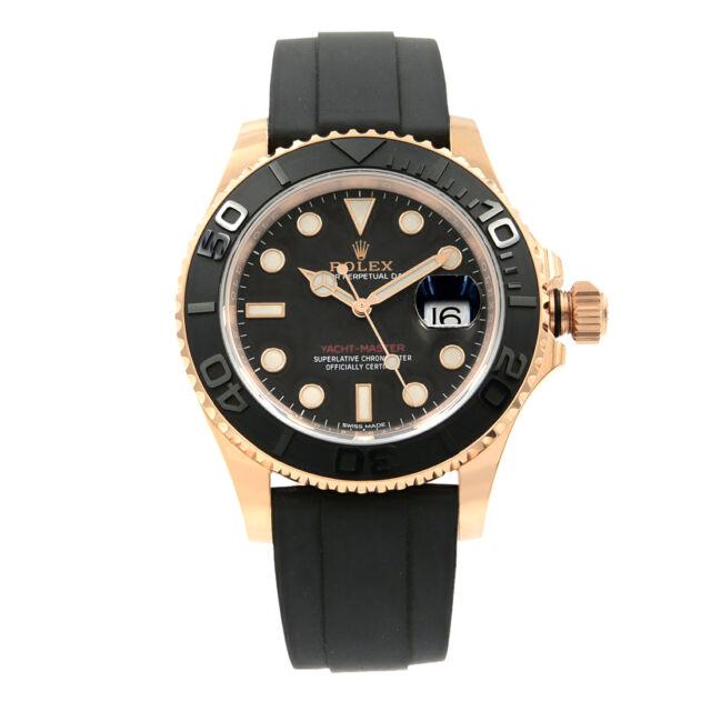 Rolex Yacht-Master Matt Black Dial Everose Gold Rubber Automatic Watch 116655