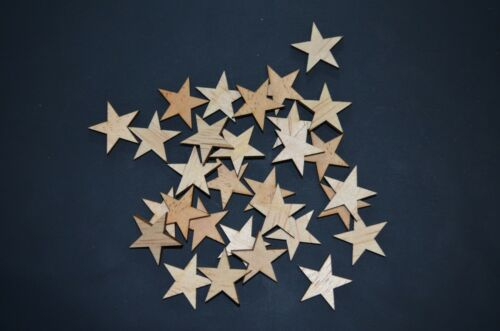 100 Qty Small 1-1//2 inch Wood Stars Craft Supply Flag Wooden Stars